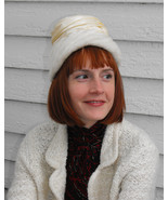 Vintage Hat Ivory White Soft Fluffy Furry Winte... - $9.99