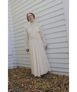 Sheer Lace Dress 1980s Formal Pale Chiffon Peach New Old Stock Vintage  - $62.00