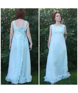 1960s Gown Formal Party XS S Aqua Blue Vintage 60s Full Dress Sleeveless - $68.00