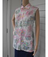 Vintage Print Blouse White Sleeveless Floral Sp... - $11.99