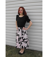 Black Pink Floral Print Cotton Dress Vintage 80... - $29.99