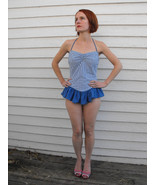 Vintage Striped Swimsuit Blue White Ruffle Bath... - $39.99