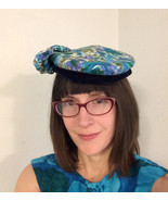 Floral Hat Bow Beret Watercolor Velvet Trim Vin... - $19.99