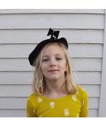 50s Black Hat Tilt Hat Vintage Cute Bow - $19.99