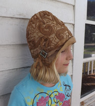 Antique Cloche Hat 20s Soutache Tan Vintage Art Deco 19 - $89.00