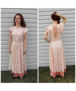 Satin Lace Formal Gown 60s Party Dress Pink Ivo... - $79.99