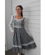 Vintage Gunne Sax Dress 70s Country Blue Floral 5 XS XXS Hippie Boho Pra... - $79.99
