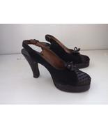 Vintage 40s Palter DeLiso Shoes Platform Peeptoe Slingback Heels Black 6... - $125.00