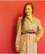 Vintage 80s Secretary Dress Sheer S Beige Black... - $19.99