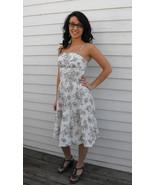 Vintage 50s Dress Print White Green Bombshell Summer Sun XS Nardis - $79.99