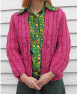 Vintage Pink Sweater Cable Knit Cardigan Thick ... - $15.00