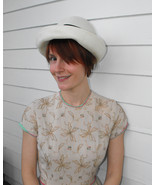 Vintage Hat Summer Sun Country Picnic Ivory Navy Ribbon M - $18.00