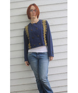 Double Breasted Blue Shirt 70s Vintage Top S So... - $9.99