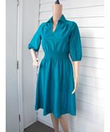 1980s Jade Dress Blue Green Vintage Dress Retro... - $15.99