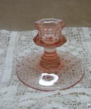 Vintage Stemmed Pink Glass Single Taper Candle Holder //Decorative Candle Holder - $12.00