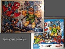 Childrens 24 Piece Puzzle Marvel Super Hero Squad Spiderman Doc Ock Wolv... - $10.99