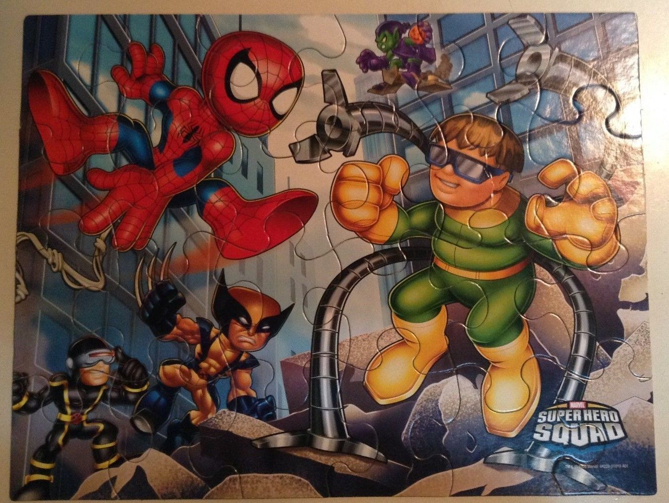 Childrens 24 Piece Puzzle Marvel Super Hero Squad Spiderman Doc Ock Wolverine