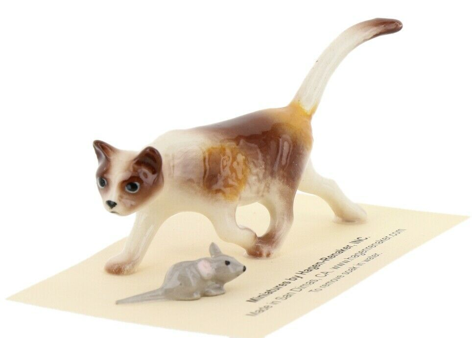 Calico Cat and Mouse Figurine Set of 2 Miniatures by Hagen-Renaker, INC