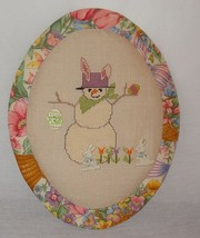 New Easter Bunny Fabric Wall Hanging Oval Finis... - $37.86