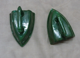 Vintage Kitsch Retro Green Splatter Design Iron Salt & Pepper Shaker Set - $10.00