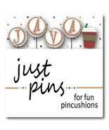 J is for Java JP199 set/5 pins for pincushions Just Another Button Co - $13.95