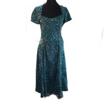 Vtg Rayon Sweetheart Neckline Swing Dress Rich Floral Jaquard Metal Zipp... - $41.58