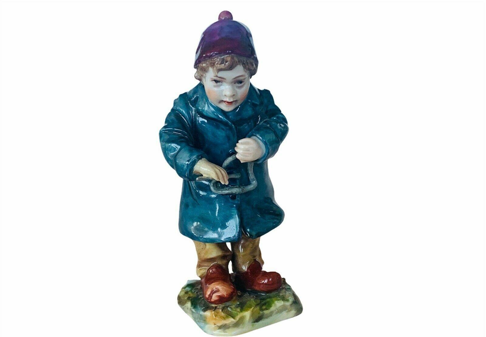 Capodimonte Antique Porcelain Figurine vtg Triangle Instrument Caroler Italy boy - $72.57