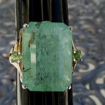 New Designer Huge 16.20 carat Columbian Emerald, Peridot 14k gold ring s... - $6,499.99
