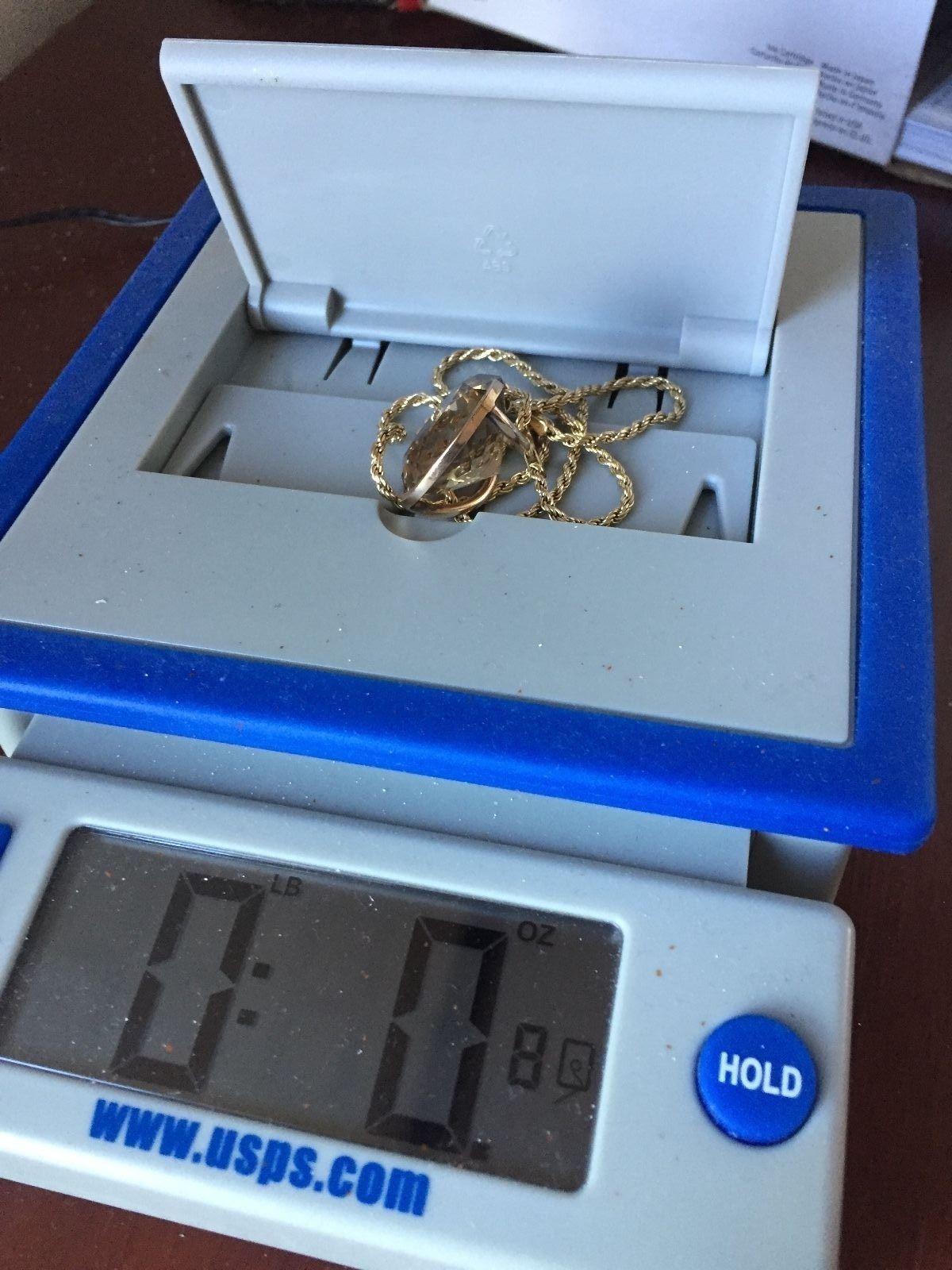 Estate  Huge 42+ CARAT Citrine & 14k Gold drop pendant necklace +Chain