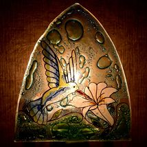 Fused Art Glass Hummingbird & Flower Nightlight Night Light Handmade Ecuador image 7