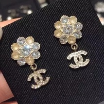 Authentic Chanel CC Crystal Cluster Dangle Drop Gold Stud Earrings RARE