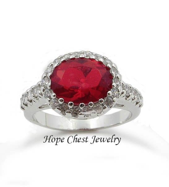 VALENTINE'S SILVER TONE JULY RED OVAL AAA CZ ENGAGEMENT FASHION RING SIZE 7