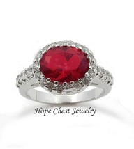 Valentine's Silver Tone July Red Oval Aaa Cz Engagement Fashion Ring Size 7 - $19.49