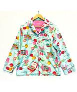 Nick And Nora Macaroon Long Sleeve Flannel Pajama PJ Top Medium - $25.62