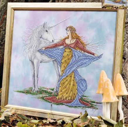 Unicorn & Maiden JE015 cross stitch chart Joan Elliott Designs