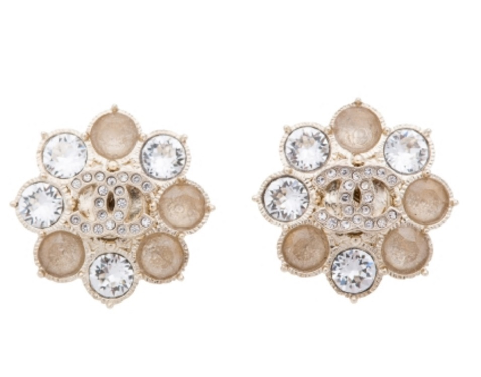 Authentic Chanel CC Crystal Cluster Gold Stud Earrings NEW