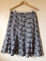 Liz Claiborne Womens Size 6 Floral Skirt Black and White Monochrome Flare A-Line