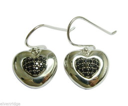 925 Sterling Silver Heart Earrings with 48 Pave Black sparkly CZ stones