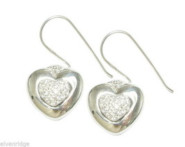 925 Sterling Silver Heart Earrings with 48 Pave CZ stones for maximum sparkle