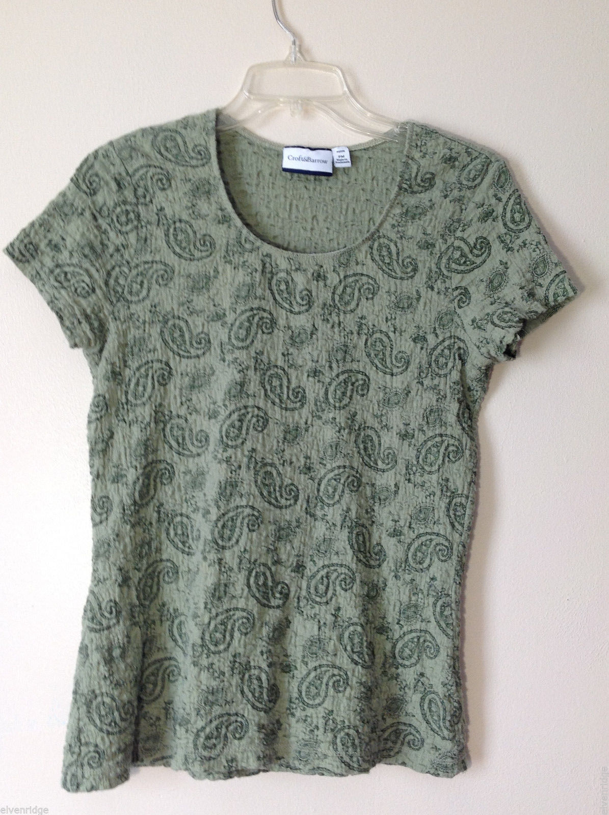 Croft & Barrow Womens' Size M MP Petite Sage Green Paisley Cap Sleeve Shirt Top