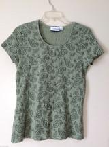 Croft & Barrow Womens' Size M MP Petite Sage Green Paisley Cap Sleeve Shirt Top