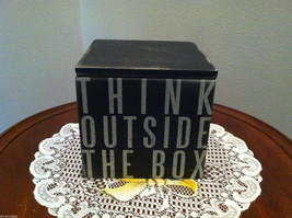 "Black Wooden Box Sign ""Think Outside the Box"" Hinged Box w/ lid"