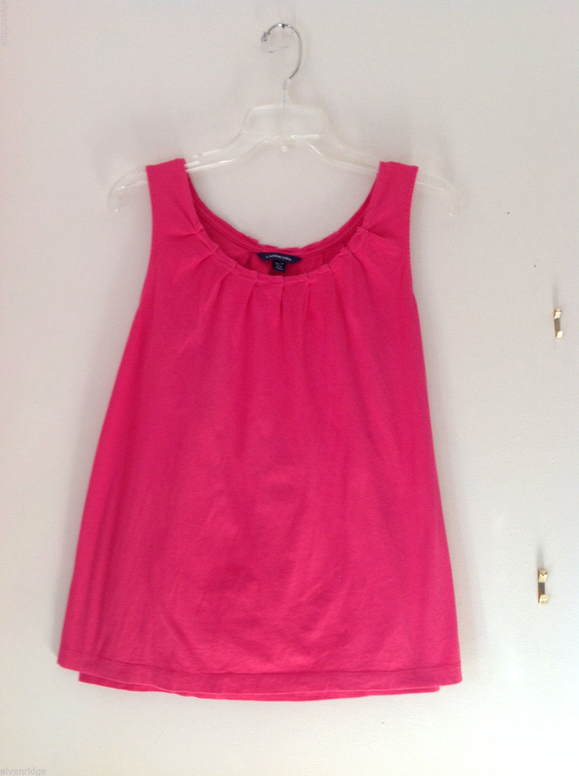 Lands' End Womens' Size MP Ruffled Gathered Neck Tank Top Hot Watermelon Pink