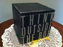 """Black Wooden Box Sign """"Think Outside the Box"""" Hinged Box w/ lid image 2"""