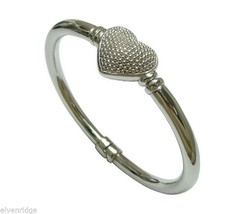 Sterling Silver Heart Dotted Caviar Design hinged Bangle Bracelet 7 inch wrist