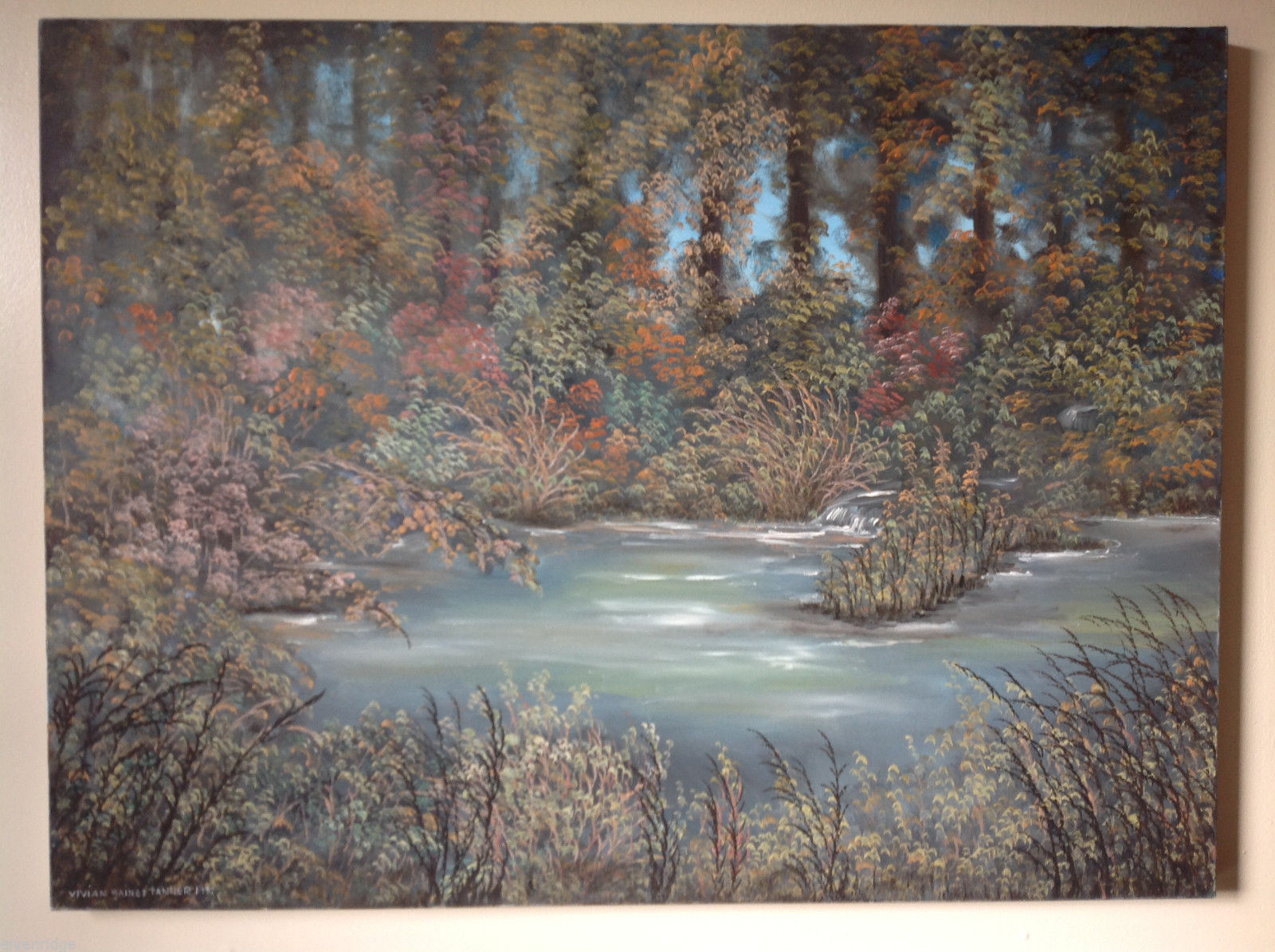 Vivian Gaines Tanner Original Art Oil Canvas Autumn Stream Landscape Painting 97