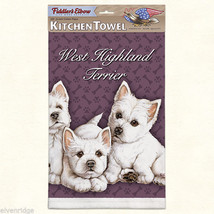 West Highland Terrier puppy silk screen kitchen Towel made in USA