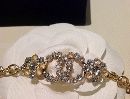 Authentic CHANEL Cluster Crystal CC Gold Chain Bracelet RARE NEW image 3