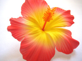 Hawaii Bridal Wedding Party Life-like Hibiscus Hair Clip ~ CORAL PINK QTY 2 - €10,54 EUR