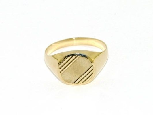 18K YELLOW GOLD BAND MAN RING SQUARE ENGRAVABLE SATIN AND SMOOTH MADE IN ITALY
